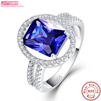 Jrose Princess 5.55CT Engagement Wedding Blue Cubic Zircon Rings For Women Love Lady Set 925 Sterling Silver Fine Jewelry