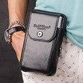 Genuine Cuero Real Celular/Teléfono Móvil Monedero Cinturón de Bolsillo Caja de Cigarrillo Bum Fanny Bolso de La Cintura Militar Viajes Masculina Paquete de la cadera