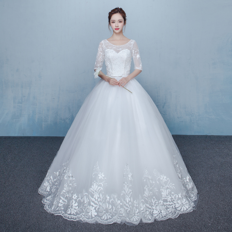 It\'s YiiYa Off White New Half Sleeve O Neck Wedding Dresses ...
