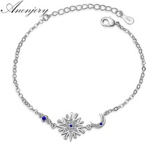 Anenjery Brand Hot Fashion Micro CZ Sunshine Moon Star Bracelet For Women 925 Sterling Silver Zircon Jewelry pulseira S-B190(China)