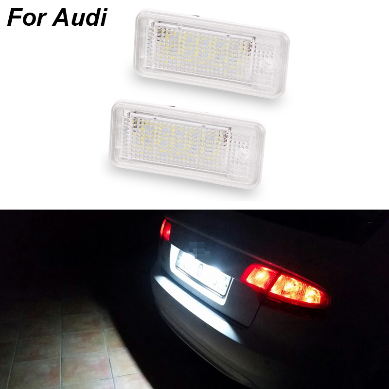1pair /2Pcs Car <font><b>Led</b></font> Number License Plate Light White 6000k 3W <font><b>18</b></font> <font><b>SMD</b></font> <font><b>Led</b></font> Bulb Number Plate For Audi A4 A6 C6 A3 B6 B7 S6 A8 Q7 image