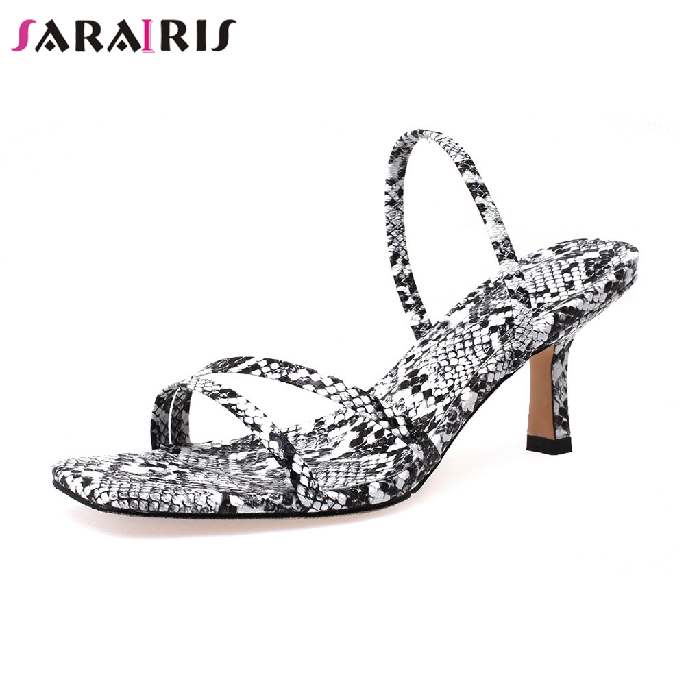 SARAIRIS New Fashion Big Size 33-43 Snake Veins Ladies High Heels Mules Shoes Woman Casual Party Sexy Summer Sandals 2019SARAIRIS New Fashion Big Size 33-43 Snake Veins Ladies High Heels Mules Shoes Woman Casual Party Sexy Summer Sandals 2019