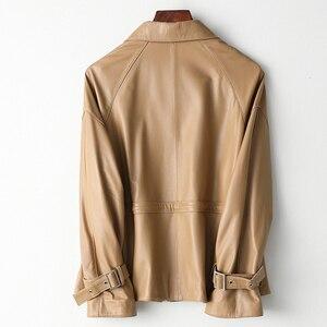 Image 2 - 2019 décontracté grande taille femmes en cuir véritable veste mince cordon qualité agneau en cuir véritable manteau Harajuku vêtements femme