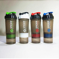 Protein Shaker Blender Mixer Cup Sports Fitness Gym 3 Layers Multifunction 600ml BPA Free Shaker Bottle