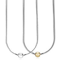 New 925 Sterling Silver Necklace Moments Lobster Ball Clasp Smooth Snake Chain Necklace For Women Wedding Gift Pandora Jewelry