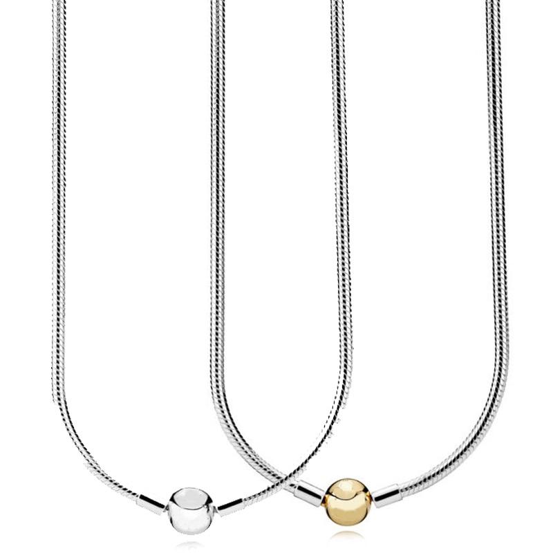 Nouveau 925 collier en argent Sterling Moments homard balle fermoir lisse serpent chaîne collier pour les femmes cadeau de mariage Pandora bijoux