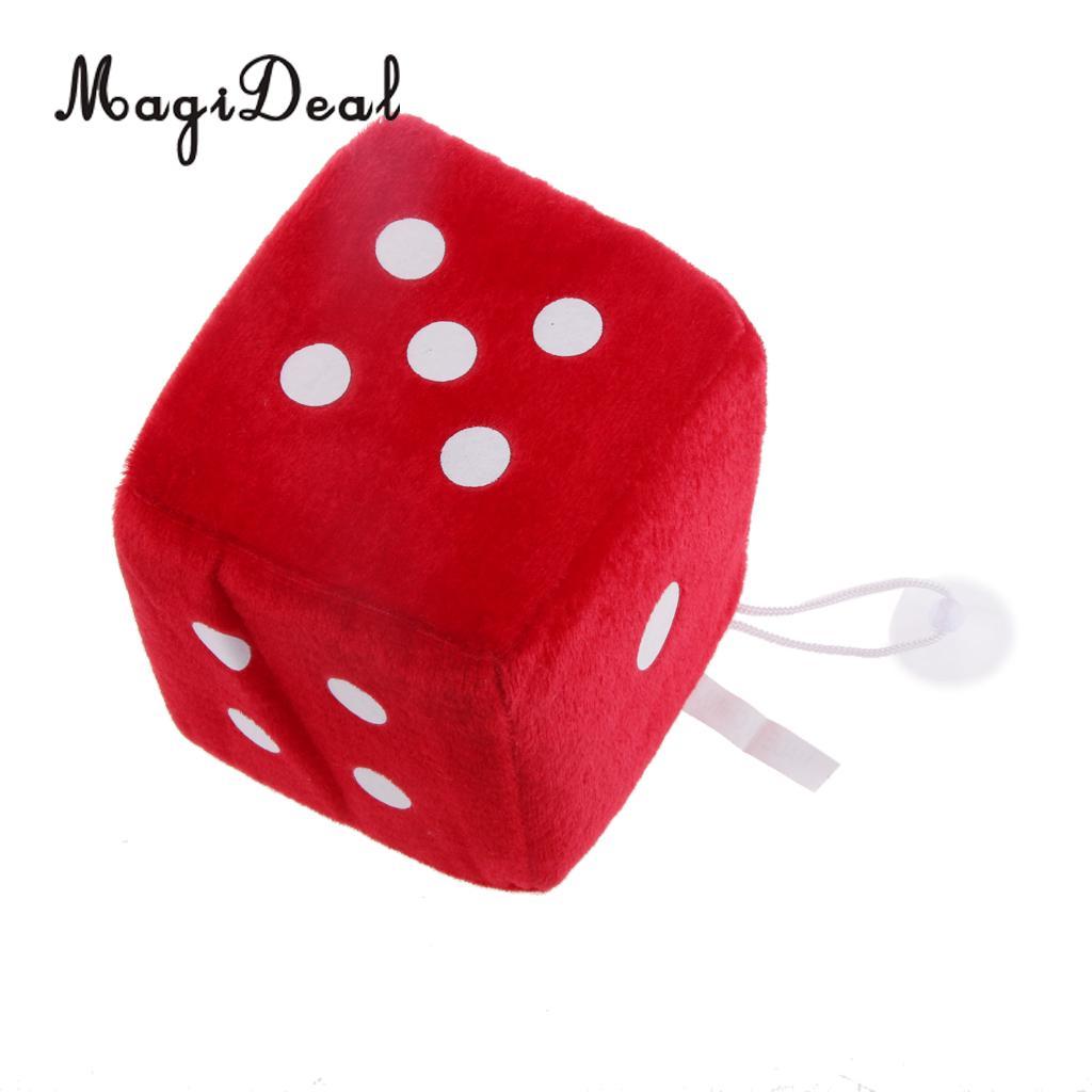 4 дюйма Мягкие плюшевые игрушки для игры в кости куб окна автомобиля зеркало вешалка липкая Декор День рождения подарки Сувенирные игрушки подарок 10x10x10 - Цвет: Red