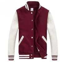 2016 Men/Women Bomber Jacket Autumn Fashion Wine Red Baseball Jacket Casual Cotton Varsity Jacket Bombers Blouson Homme
