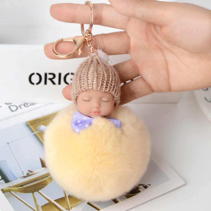 Alta Qualidade 13 cm Dormir Baby Doll Natureza Coelho De Pele peluda Pompom Chaveiro Carro Fêmea chave Saco titular cadeia pingente acessórios