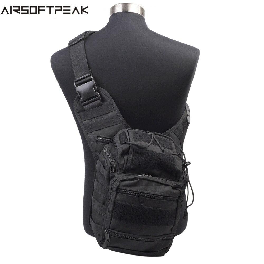 AIRSOFTPEAK Outdoor Men Hunting Backpack Shoulder Bags Airsoft Sports Tactical 600D Nylon Messenger Bag Outdoor Sport Pack
