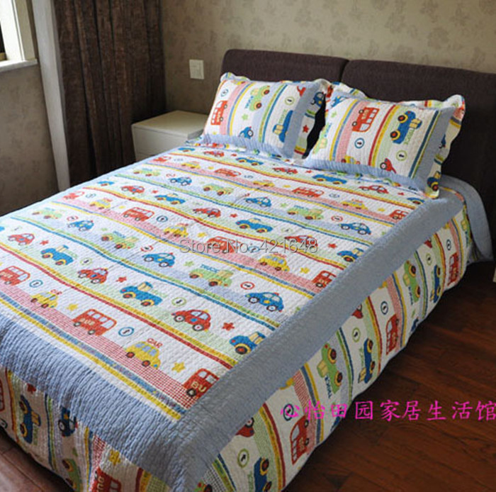 Free shipping!Discount Twin Car Truck Bus Boys Bedding Sets 2/3 Pcs Applique Patchwork Quilt ...