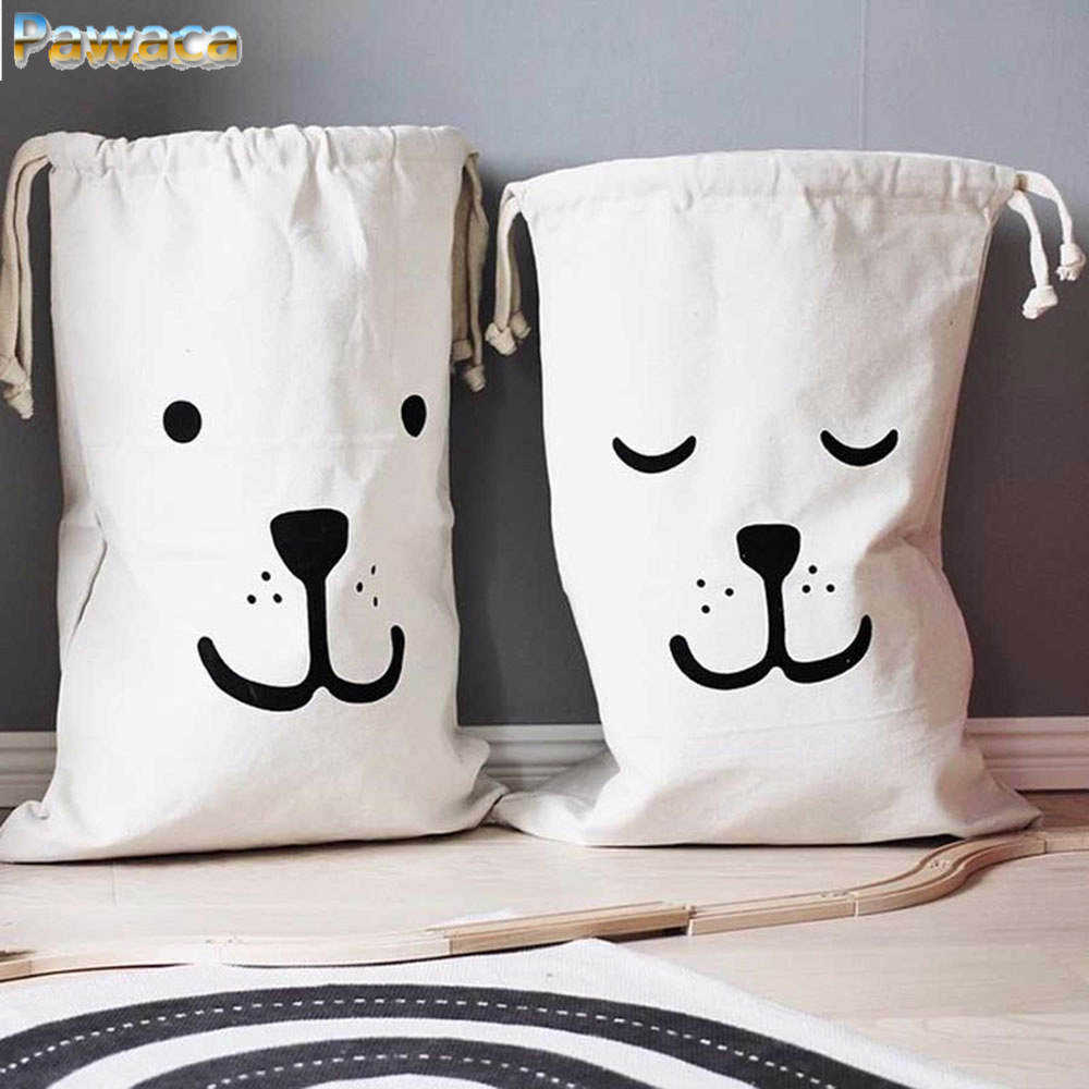 Large Baby Toys Storage Bags Canvas Bear Batman Laundry Hanging Drawstring Bag Household Pouch Bag Home Storage Organization