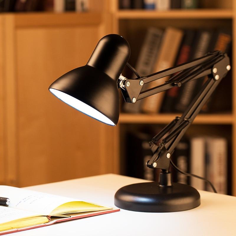 ФОТО Black Iron Folding  Table Lamp Book Light Reading Lamp Desk Lampshades