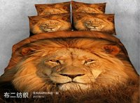 Fashion gold silver lion 3D bedding Set for bed Duvet Cover set twin full queen king size bed set printed sheet bed
