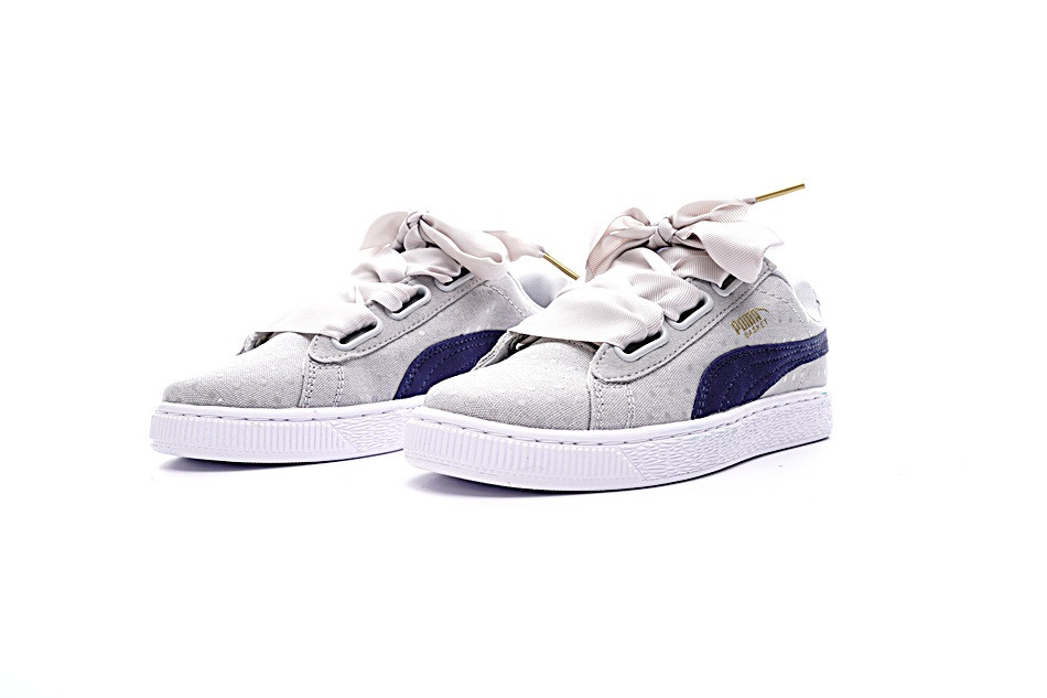 a4fc9fbf3d55 Puma shoes Puma Basket Heart Denim Bow Girl s Shoes Denim Series Khaki  Point Women s Shoes size 36 39-in Badminton Shoes from Sports    Entertainment on ...