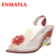 ENMAYER Peep Toe Summer Sandals Wedges Shoes Woman High Heels Slingbacks Shoes Plus Size 33-43 Italian Shoes with Matching Bags
