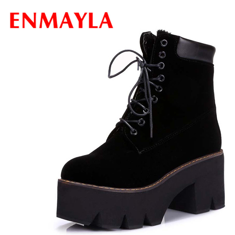 ENAMYLA Autumn Lace-up Platform Ankle Boots for Women High Heels Shoes Woman Winter Warm Fur Round Toe Suede Black Short Boots front lace up casual ankle boots autumn vintage brown new booties flat genuine leather suede shoes round toe fall female fashion