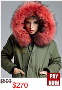 Factory wholesale price Women's Vintage Retro Fur Hooded Military Parka Jacket Coat with pink lined and collar fur mr 15