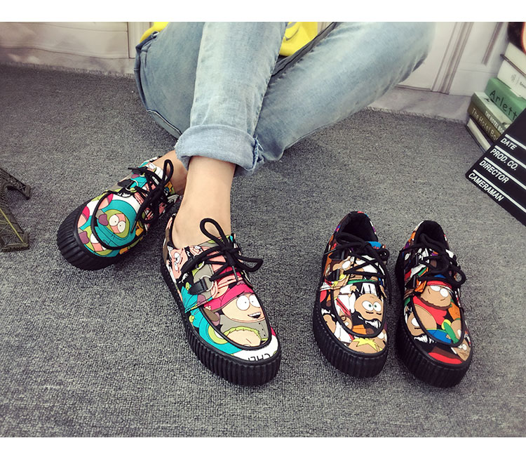 ФОТО Allover Printed Women Cartoon Shoes Flat Heel Casual Shoes New 2017 Ladies Lace Up Round Toe Shoes Cute Shoes Free Shipping