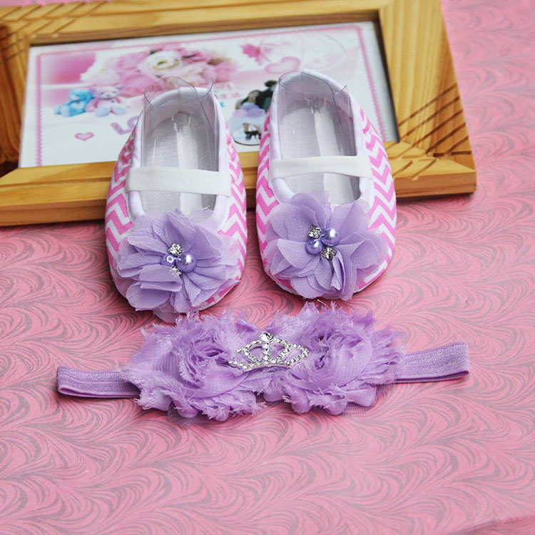 Rhinestone Newborn Baby Girl Shoes Headband Set, T-tied Soft Sole Toddler IAnti-slip soft. aby slippers2016
