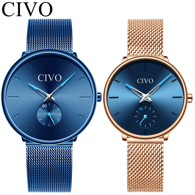 CIVO 2pcs Fashion Casual Couple Watches Men Women Top Brand Luxury Quartz Watch Set Waterproof Mesh Strap Weistwatch Reloj MujerCIVO 2pcs Fashion Casual Couple Watches Men Women Top Brand Luxury Quartz Watch Set Waterproof Mesh Strap Weistwatch Reloj Mujer