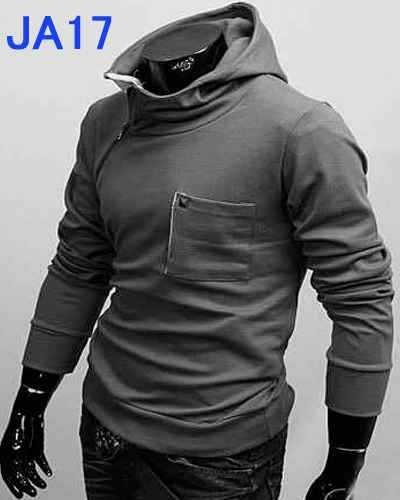 men's jacket Inspired design oblique zipper Hooded Sweater Fashion New 2012 Men Slim Style  Coat JA17 Free Shipping Black, white