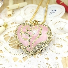 Heart Shaped Jewelry USB 512GB Flash Drive Necklace Chain Pendrive 64GB Pen Drive 128GB 16GB 32GB USB Stick Disk On Key Gift(China)
