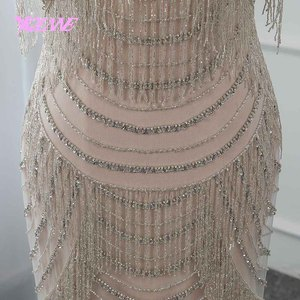 Image 5 - Gorgeous Rhinestones Evening Dress Long Mermaid Slit Back Prom Gown Vestido De Festa Pageant Dresses 2019 YQLNNE