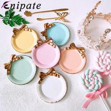 Enipate Nordic Mini Round Bow Cake Storage Trays Makeup Organizer Dessert Plate Decorative Tray for Kitchen Home Decor 10*10cm