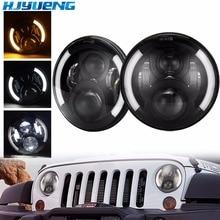 HJYUENG 2pcs 45W 7 Inch Led Driving Light H4 H13 LED Car Headlight Kit Auto for Jeep Head Lamp Bulbs Dipped & High Beam