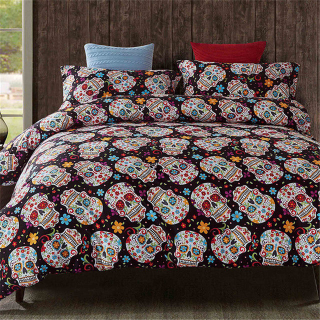 leradore fashion skull bedding set home textile bed duvet cover set halloween twin full queen king