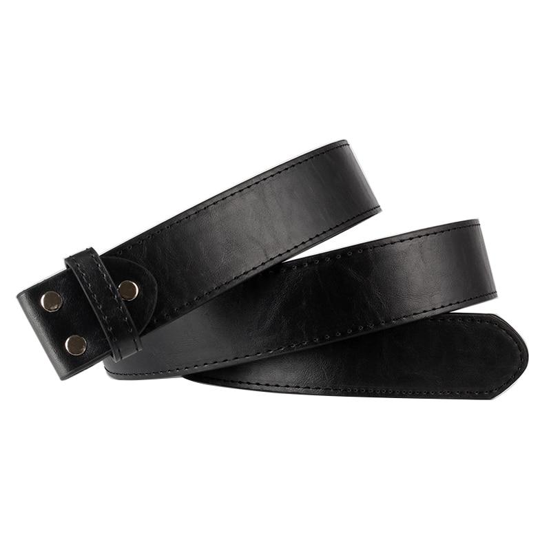 DIY cinturón cuerpo cuero suave hebilla cinturones PU balck cinturón de cuero sin hebilla reemplazar correa de cuero sólo cuerpo