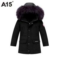 A15 детские зимние плотные Подпушка куртка пуховые куртки для мальчиков Куртка-парка с капюшоном на меху зеленый черный Подростковая верхня...