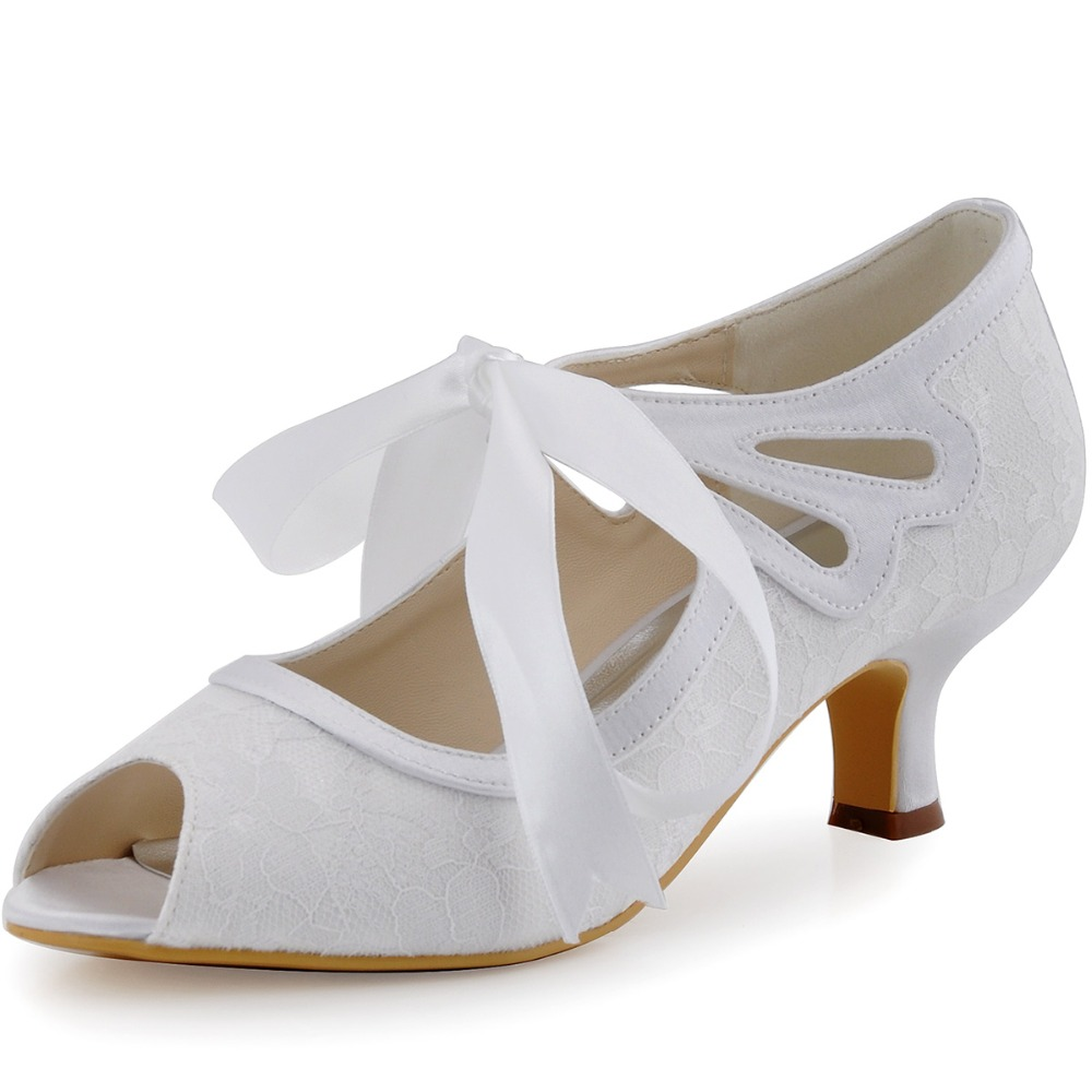 HP1522 White Ivory Champagne Women Bride Bridesmaids Peep Toe Mid Heel Ribbons Tie Wedding Bridal Dress Evening Party Shoes