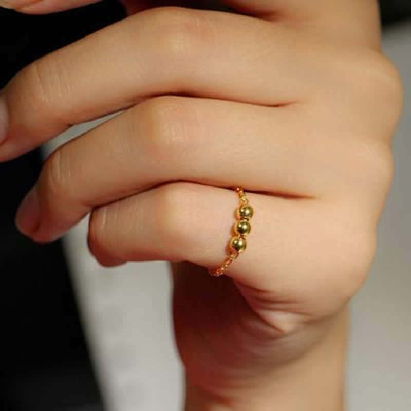 New Arrival Pure 24K Yellow gold Smooth Beads Ring Lady