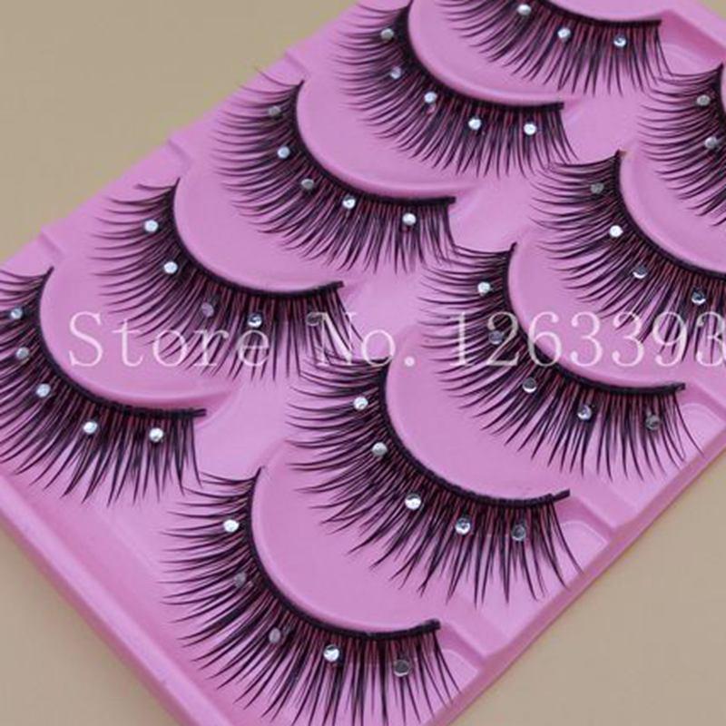 YOKPN 5 Pairs False Eyelashes Acrylic Crystal Art Natural Length Long Fake Eye Lashes Thick False Eyelashes Beauty Makeup Tips