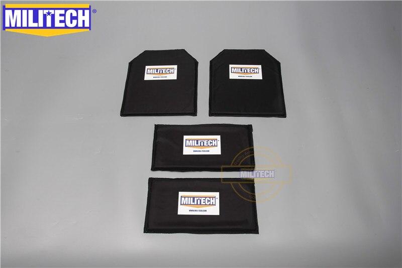 MILITECH 10 X 12 & 6 X 12 Pairs Aramid Ballistic Panel Bullet Proof Plate Inserts Soft Cummerbund Side Armour NIJ Lvl IIIA 3A