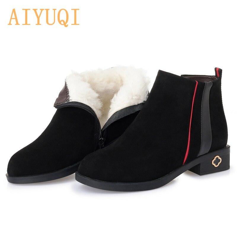 AIYUQI Women winter boots genuine leather Australia thick warm wool boots fashion women s martin boots