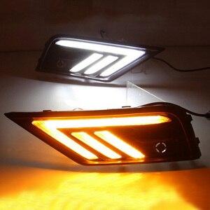 Image 2 - 2 * LED النهار تشغيل أضواء الجبهة ضوء أضواء خارجية ل Volkswagen تيجوان ل السيارات مقاوم للماء سيارة التصميم الجبهة ضوء