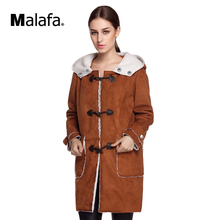 Finejo Women Faux Fur Winter Coat Thick Warm Horn Button Faux Suede Jacket Coat S-XXXL Plus Size Hooded Coat
