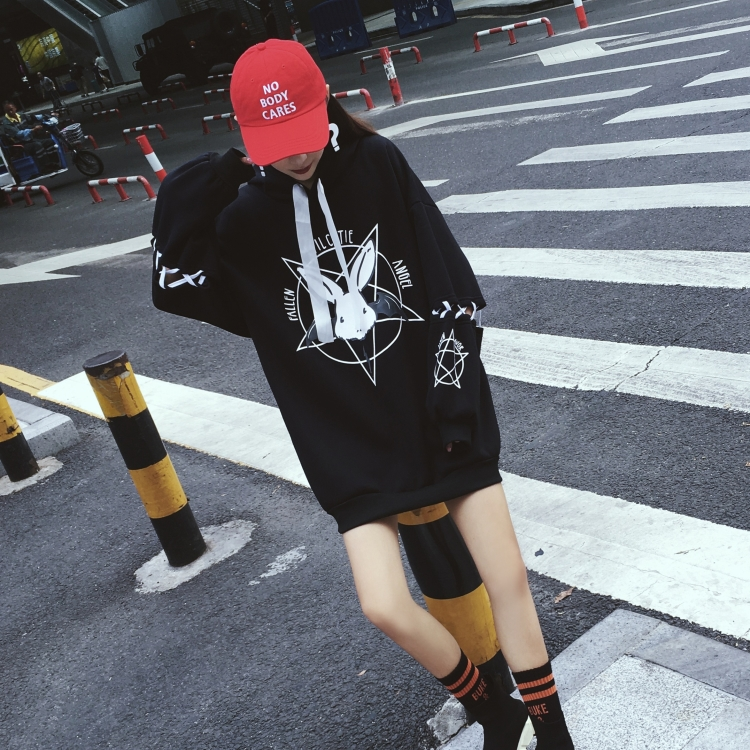 women hoodies sweatshirt women Harajuku Pentagram Print Lace Up Fleeces Hoodies Gothic Punk Oversize Velvet Hooded Sweatshirt
