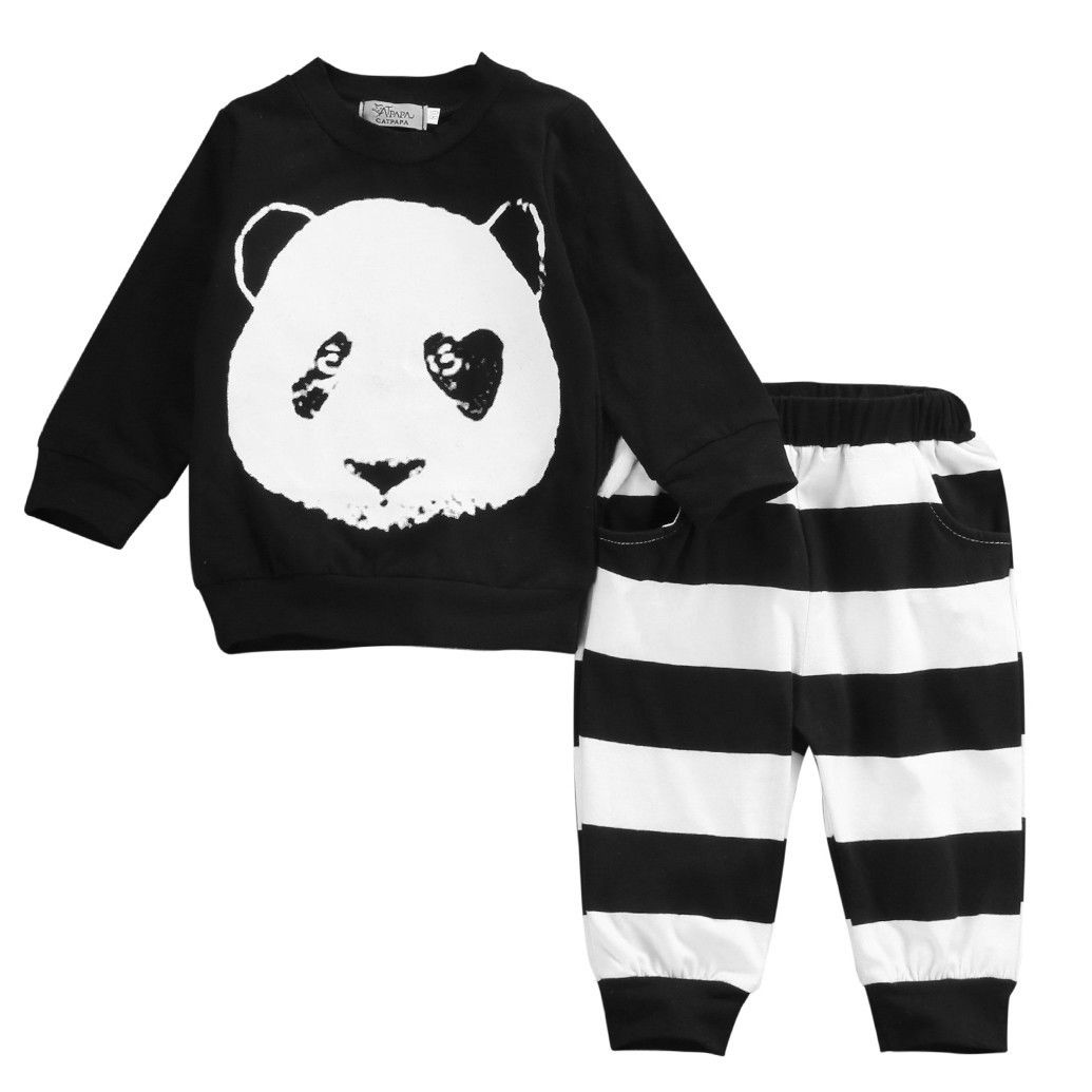 Cute Baby Panda Tops Newborn Baby Boys Girls Kid Long Sleeve Panda T-shirt Top Long Pants Leggings Outfit Baby Girls Clothes Set 2pcs children outfit clothes kids baby girl off shoulder cotton ruffled sleeve tops striped t shirt blue denim jeans sunsuit set