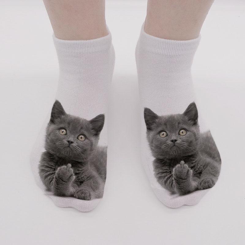 New Cat 3D Printing Female Socks Women Harajuku Kawaii Funny Short Socks  Lovely Cotton Low Cut Ankle Socks Calcetines Mujer