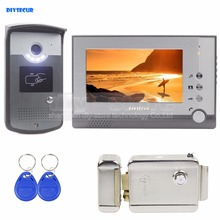 DIYSECUR Electric Lock 7 inch TFT Color LCD Display Video Door Phone Visual Intercom Doorbell ID Unlocking RFID Camera