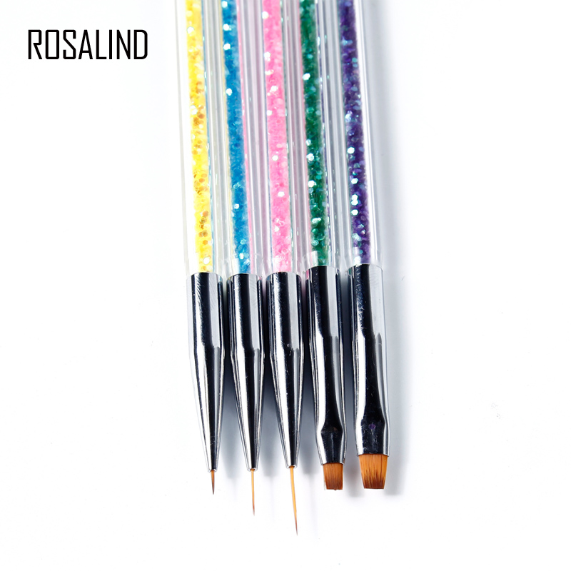 ROSALIND 5 Pcs/Sets Double Way Brushes For Nails Manicure Nail Art Acrylic Flower Design Painting Drawing Liner Nail Brsuh