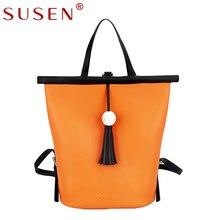 SUSEN 1313 Women Handbag Retro Light Luxury Fashion Hit Color Tassel Pendant Portable Handle Functional Bag for Lady