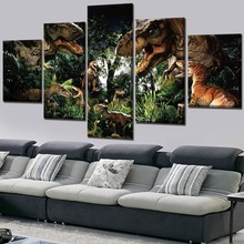 5 Piece Canvas Art HD Print Painting Home Decor Jurassic World Movie Modern Wall Living Room Artwork