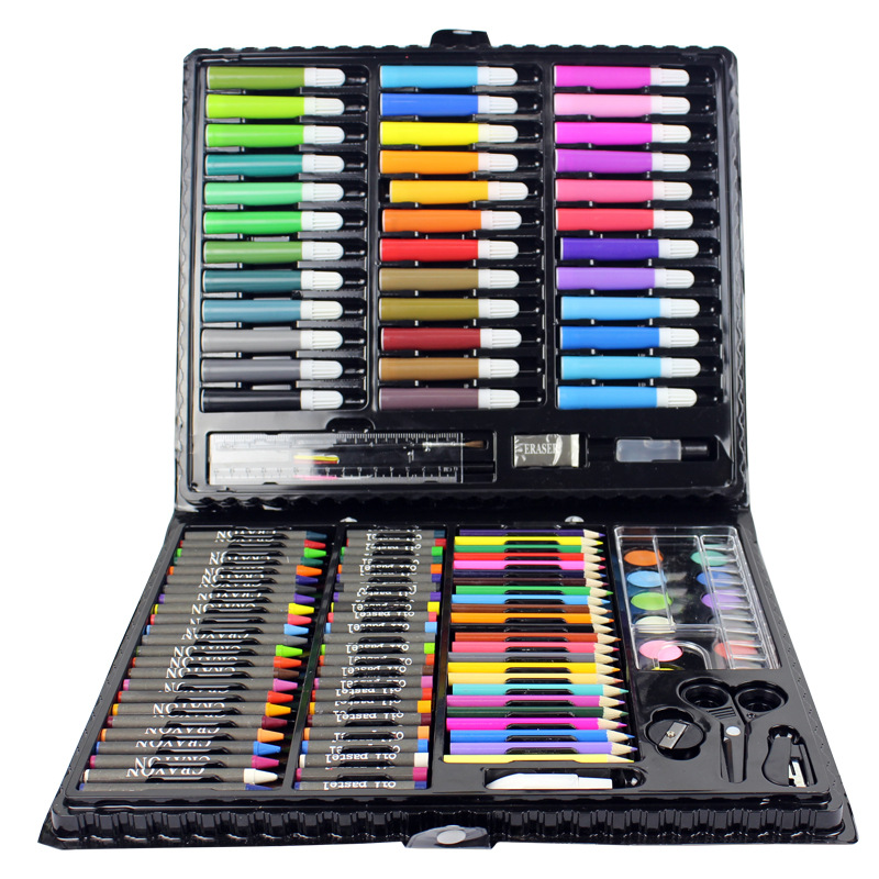 150pcs/set Children Drawing Painting Set Water Color Pen Crayon Oil Pastel Paint Brush Drawing Tool Art School stationery set refillable 1 pc japan kuretake water brush ink pen for water color calligraphy painting illustration pen office stationery