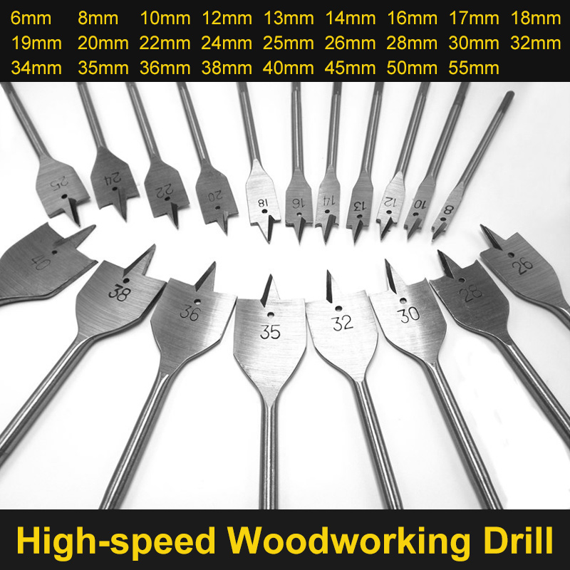 6-55mm Flat Drill Long High-carbon Steel Wood Flat Drill Set Woodworking Spade Drill Bits Durable Woodworking Tool Sets