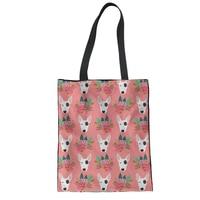 FORUDESIGNS питбуль цветок Для женщин парусиновая сумка-шоппер многоразовые тканевые сумки экологически чистые продукты Tote подарок Повседневно...